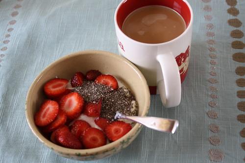 Stonyfield; Chia seeds; strawberries; coffee