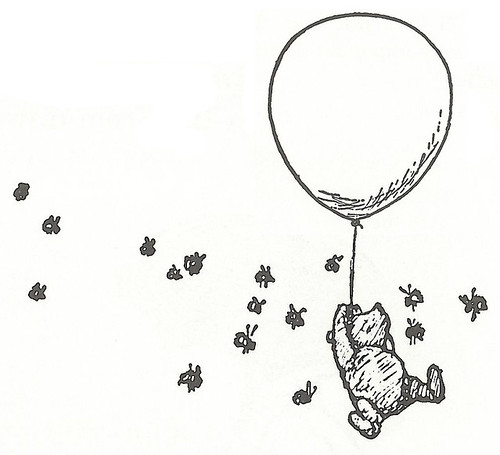 Classic Winnie The Pooh With Balloons Pictures Sketch