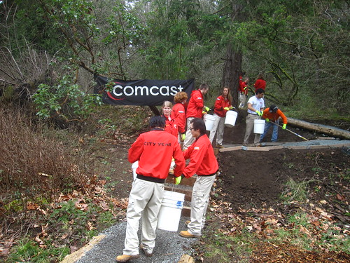 City Year Seattle and the Comcast team hard at work