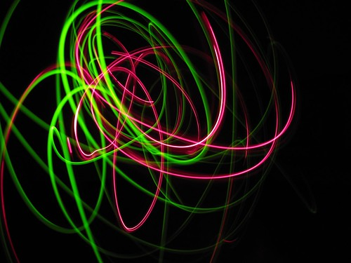 Green and red light painting