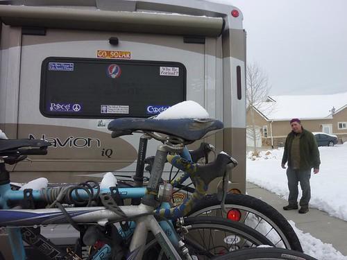 Bike seat with snow 2