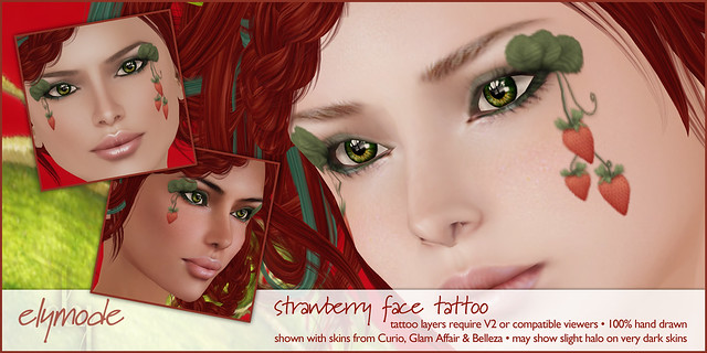 *elymode* strawberry face tattoo