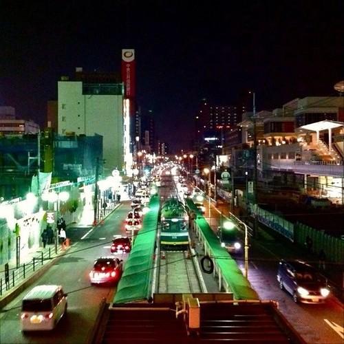上町線天王寺駅前ですよ! みなさん、今日もお疲れ様でした。☆。.:*:・'゜ヽ( ´ー`)ノ まったね~♪ #Osaka #Abeno #night