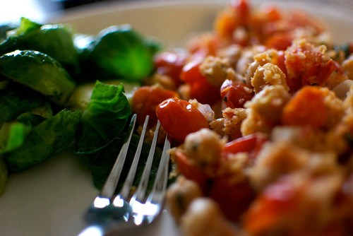 brussel sprouts & tomatoes and chickpeas