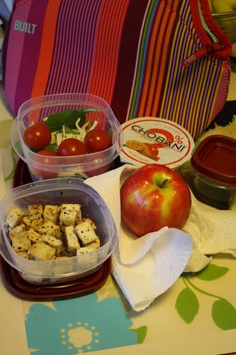 tofu, salad, pink lady apple, mango chobani