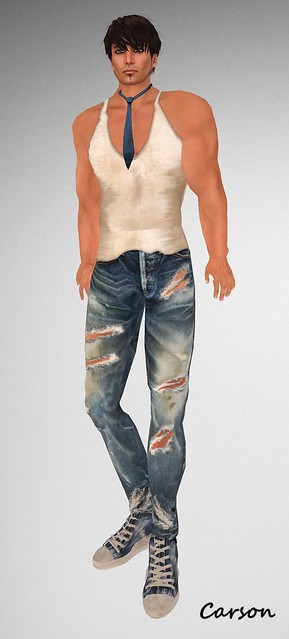 Graffitiwear Torn Jeans, Dirty Tank, Tie and Grunge Sneakers