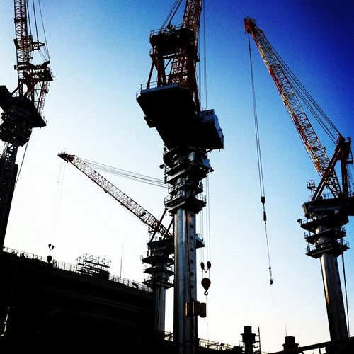 青空にクレーン! お待たせ。#Osaka #Abeno #crane