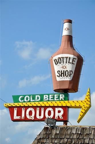 Bottle Shop Cold Beer Liquor Vintage Sign