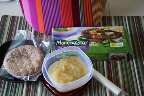 morningstar black bean burger, applesauce, string cheese, arnold's thin