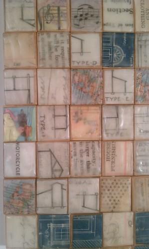 Encaustic collage teeny tile mosaic