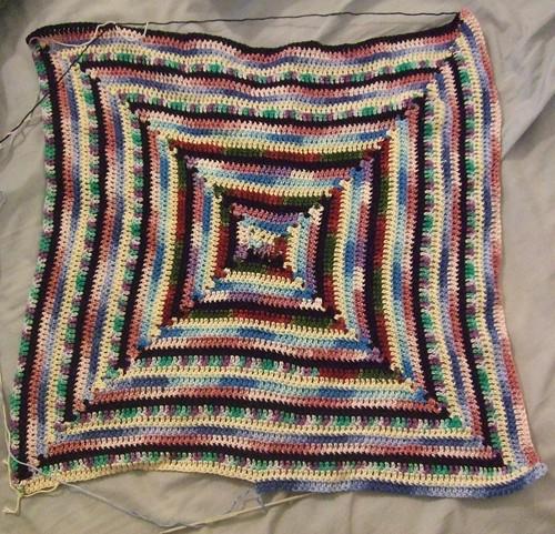 square spiral multicoloured blanket
