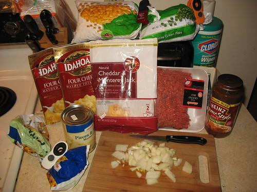 Shepards Pie ingredients