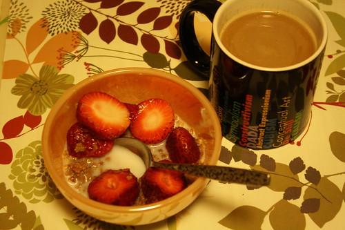 grape nuts, strawberries; coffee