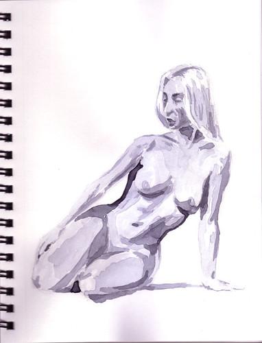 female nude kneeling