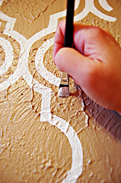 Painting Stenciled Headboard Wall