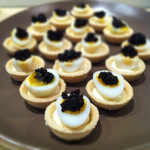 The happiest meal quail egg and caviar canap s for Quail egg canape