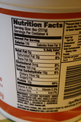 Chobani vanilla yogurt nutritional stats