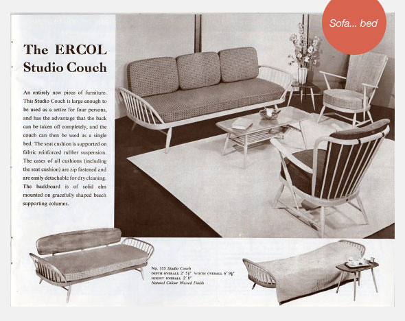 Ercol studio couch vintage advert black-white
