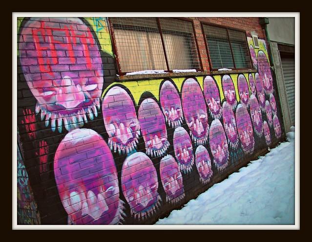 Wintry graffiti Cardiff- Eat