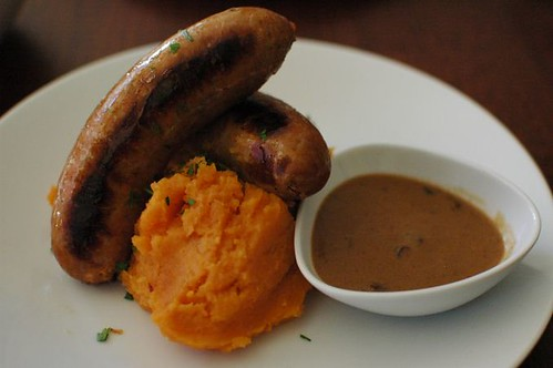Beef & Guinness sausage, sweet potato mash, mushroom gravy