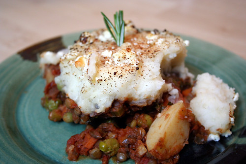 Vegetarian Shepherd's Pie with Lentils and Goat Cheese