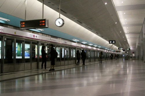 Waiting passengers at Yuen Long station