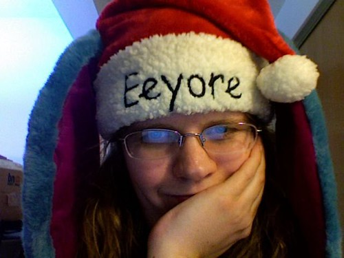 Me in an Eeyore Santa Hat