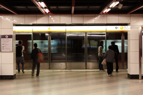 Platform for southbound Tung Chung Line trains at Lai King station