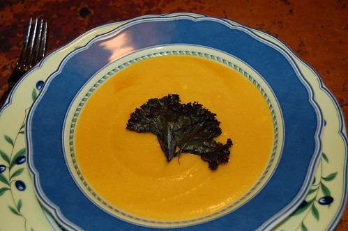 Butternut squash soup with red kale chip