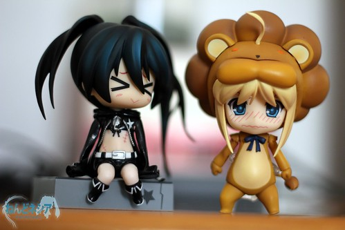 BRS-chan is about to tease Saber-chan who looks embarrassed wearing a lion costume