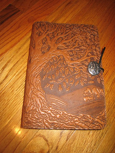 My new, embossed cover leather-bound journal featuring an image of the Tree of Life