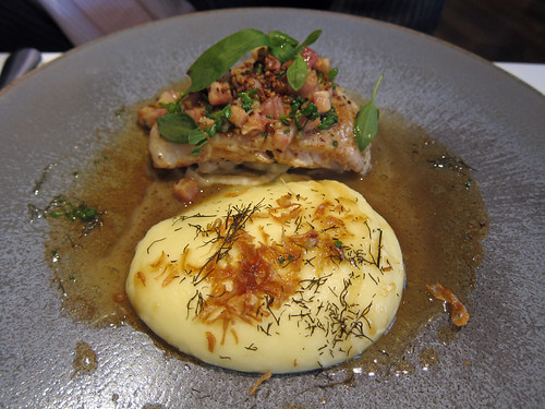 Skate Poached in Brown Butter with Creamed Potato, Smoked Eel and Sorrel