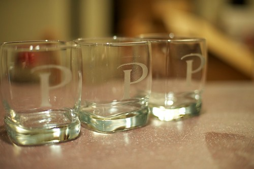 Finished etched low ball glasses