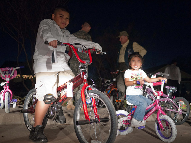 Kids on new bikes