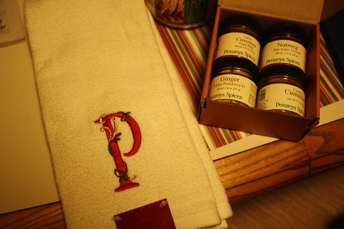 P towel and Penzey's baking spices