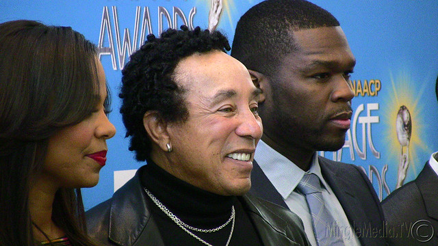 "Smokey Robinson and Curtis ""50 Cent"" Jackson at the 42nd NAACP Image Awards Nomination"
