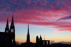 Coucher de soleil sur la cathédrale de Rouen