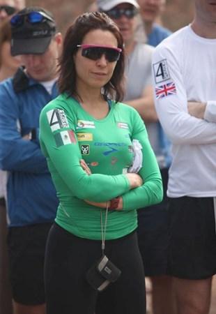Nahila Hernandez antes de iniciar el Atacama Crossing