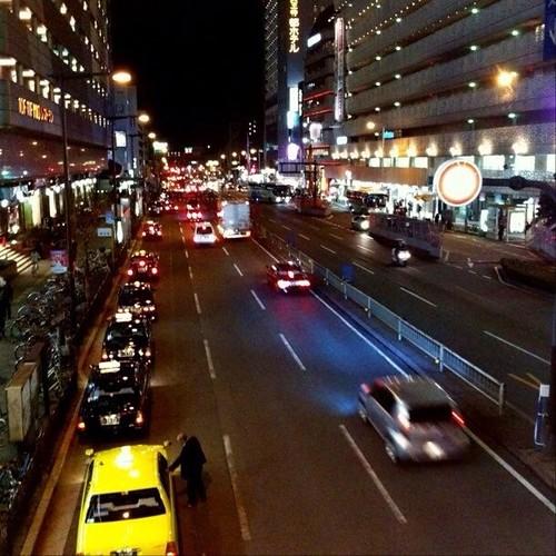阿倍野歩道橋から… みなさん、お疲れ様でした。☆。.:*:・'゜ヽ( ´ー`)ノ まったね~♪ #Osaka #Abeno #night