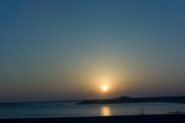 東石海濱落日