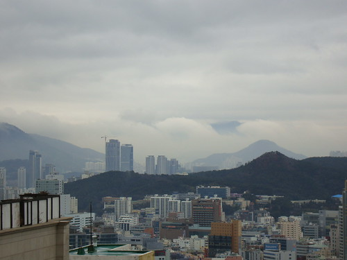 a rainy day after snow in Busan