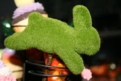 Close up of faux topiary bunny