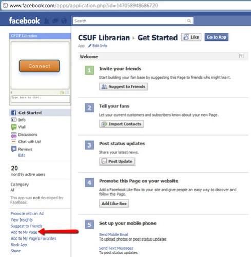 Facebook App: Pollak Library CSUF Librarian (LibraryH3lp)