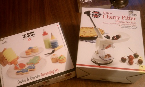 Cake decorating kit AND a deluxe cherry pitter! Woo!