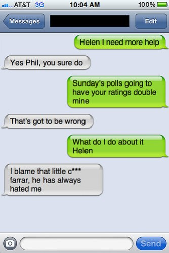 Txts from New York: Helen and Phil chat