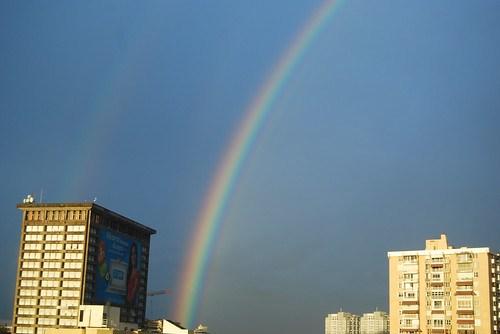 Rainbow outside my window in San Juan, Puerto Rico
