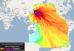 Sendai tsunami model - NOAA via Google Maps