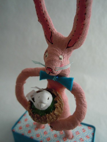 Spun Cotton bunny with bird in nest