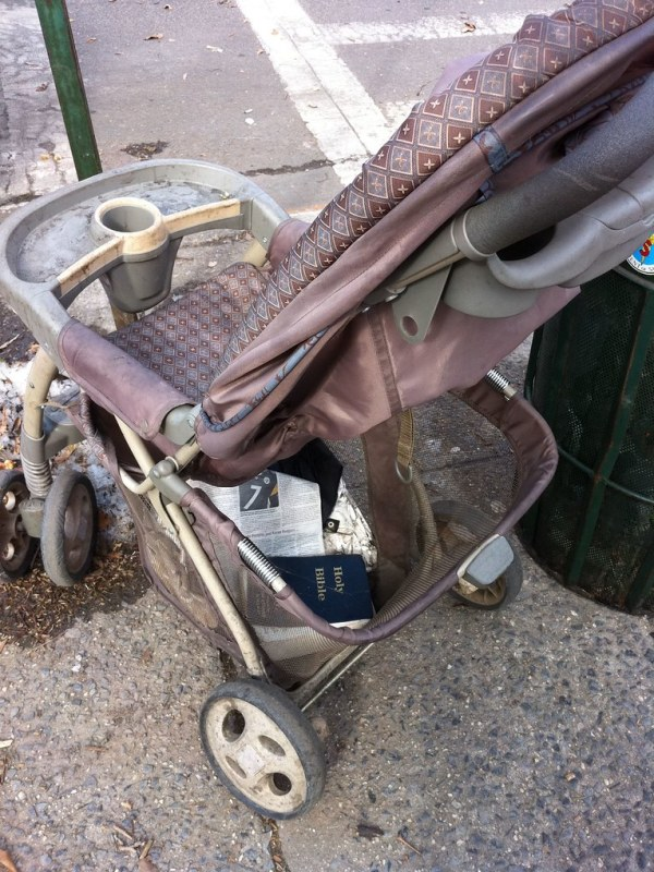 Holy Bible and rusty stroller. McGolrick Park, corner of Nassau and Monitor 2/19/11