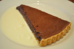 Dessert: Chocolate and apricot tart with yoghurt